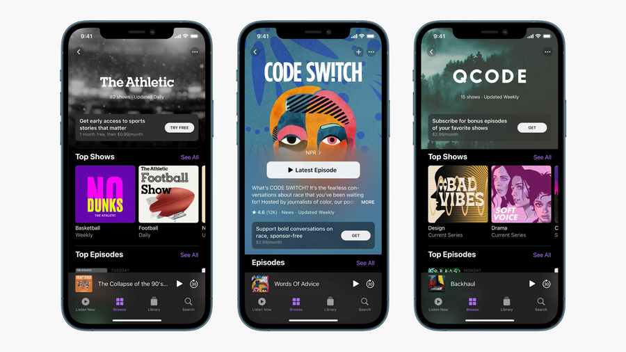 Screenshot showing examples of Apple Podcasts channels